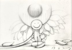 Here Comes The Sun (study) by Doug Hyde - Original Drawing on Mounted Paper sized 5x4 inches. Available from Whitewall Galleries